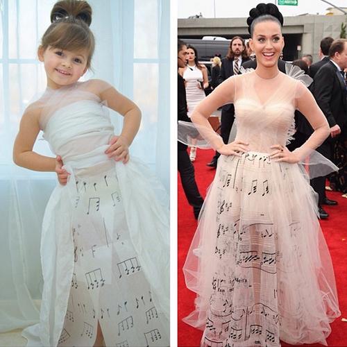 Bé gái 4 tuổi may váy giống sao Hollywood siêu ngộ nghĩnh
