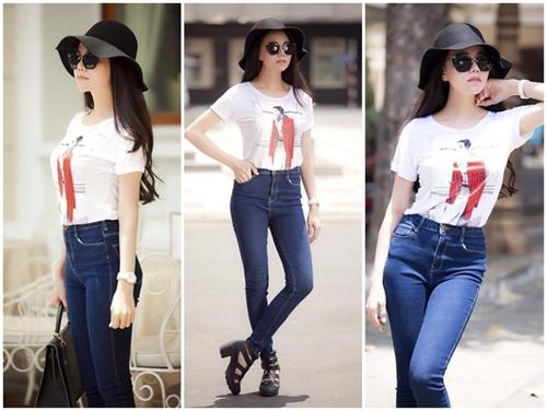 Cách mix quần jeans bó cho nàng chân cong