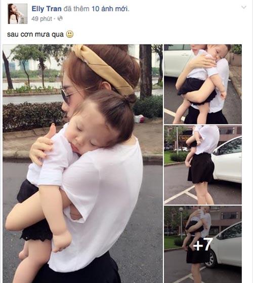 Cadie ngủ gật trên vai mẹ Elly Trần