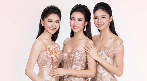 Hoa hậu Mỹ Linh khoe sắc với đầm dạ hội cùng 2 á hậu