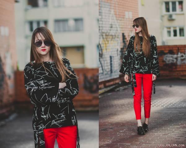 Những kiểu quần nữ màu đỏ đẹp sành điệu