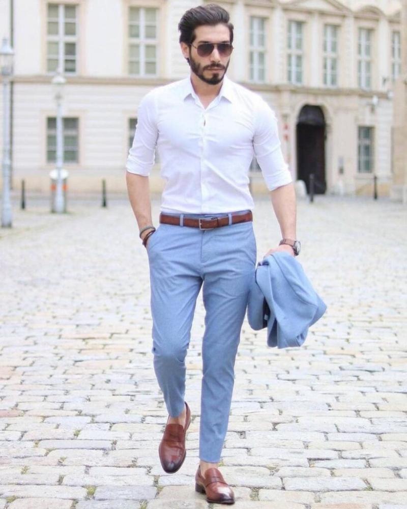 Soái ca với gợi ý phối áo sơ mi cùng quần trouser