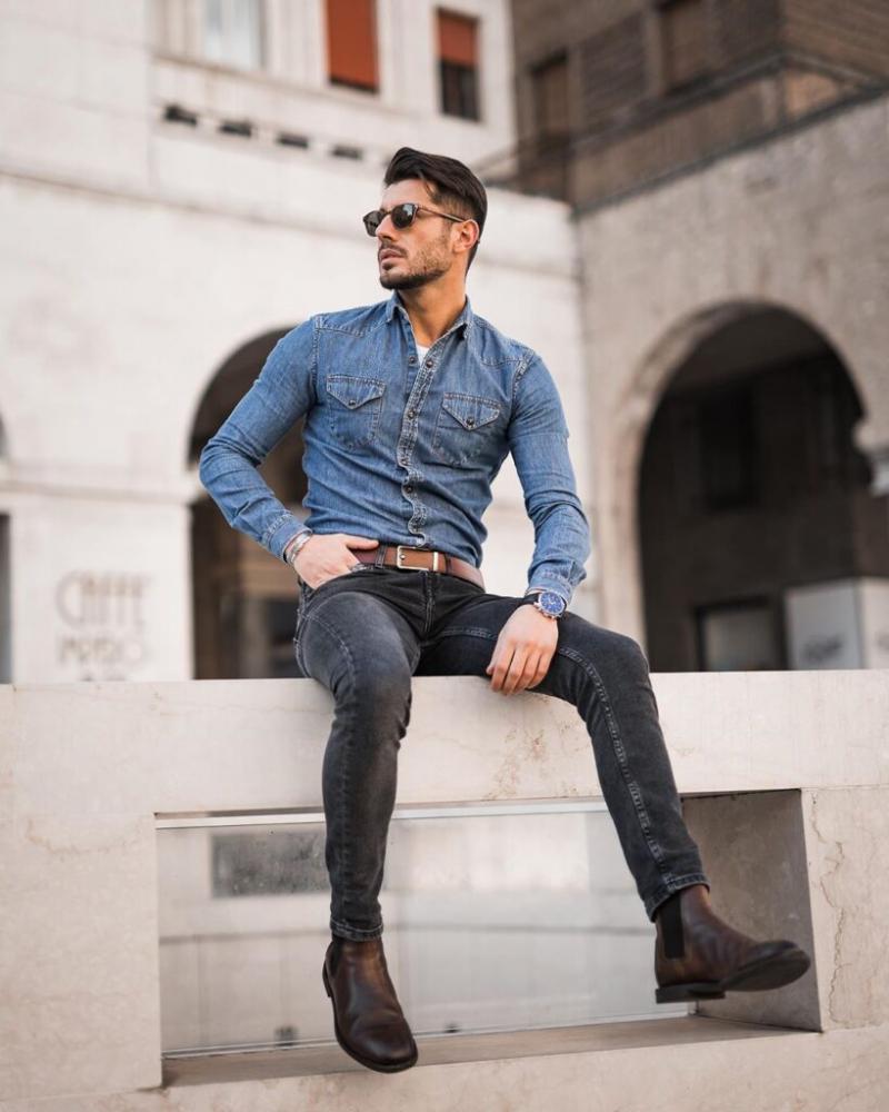 5 cách phối áo sơ mi với quần jeans giúp chàng thanh lịch