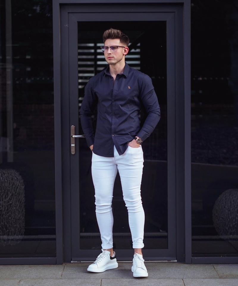 3 cách phối áo sơ mi xanh navy giúp chàng nổi bật đầy nam tính