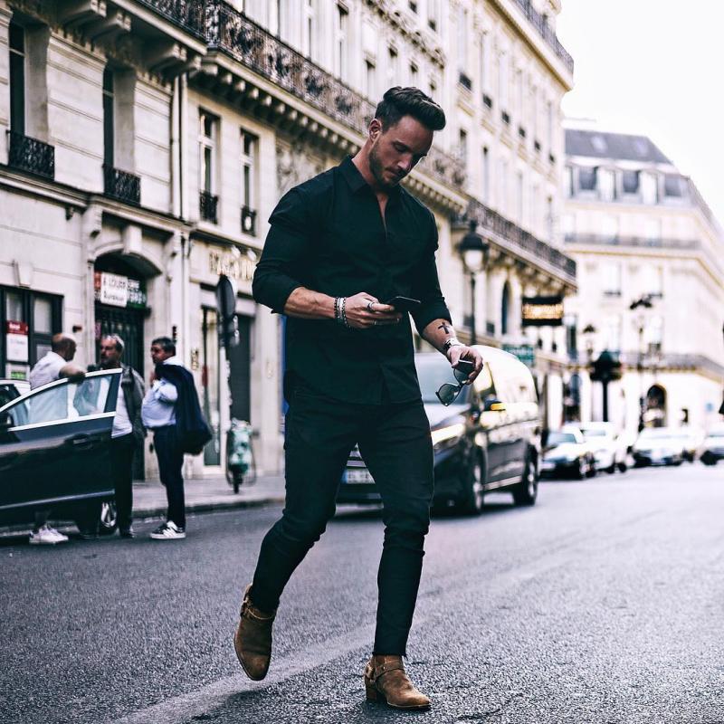 8 cách phối đồ nguyên cây đen siêu nam tính giúp chàng thêm phong cách