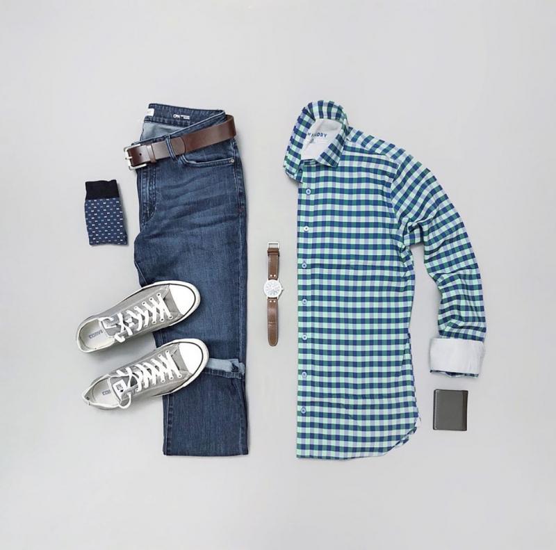 Gợi ý 4 set đồ phối áo sơ mi caro cho chàng đến công sở thêm trẻ trung