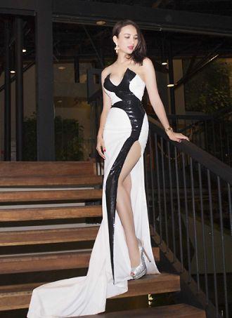 Ngọc Diễm diện váy cúp ngực